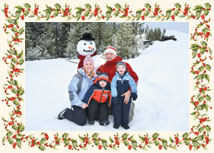 Horizontal Holly Border Christmas Photo-Mount Card