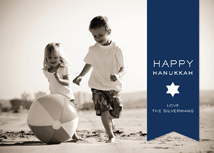 Happy Hanukkah Blue Ribbon & Star Photo Cards