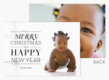 Merry Christmas Happy New Year Holiday Photo Cards